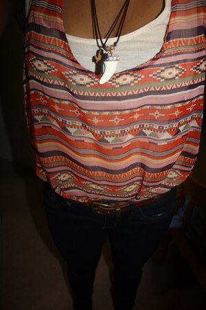 carrot orange tribal urban behavior blouse - cream tiger tooth Dynamite necklace