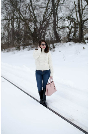 plastic coach boots - wool H&M sweater - leather Prada bag
