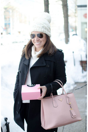 wool Burberry coat - plastic coach boots - wool Nordstrom hat