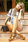 Blue-h-m-shorts-white-choies-t-shirt-tawny-marypaz-sandals