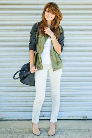 nude Zara shoes - cream Zara jeans - white Zara shirt - black Fosco bag
