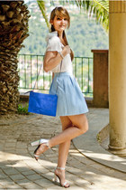 sky blue Stradivarius skirt - blue Zara bag