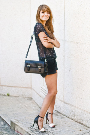 white Zara sandals - black Zara bag