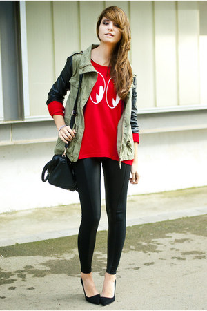 red H&M sweater - black Calzedonia leggings