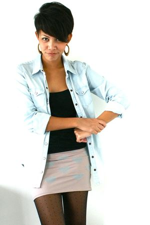 blue Topshop shirt - black Topshop top - beige Topshop skirt - black Topshop sto