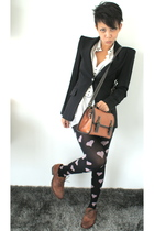 pink Topshop tights - brown Topshop shoes - black Zara blazer