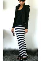 black River Island blazer - black Topshop top - beige Topshop skirt - black Nine