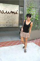 black Topshop top - beige Topshop skirt - black