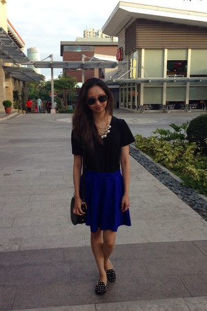 black worn as a top dress - blue cotton on skirt