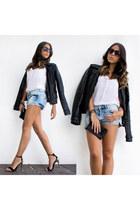 black Mango jacket - black Prada bag - black Zara heels