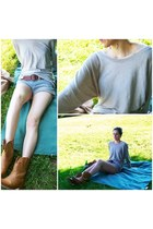 Forever 21 boots - vince sweater - All Saints shorts