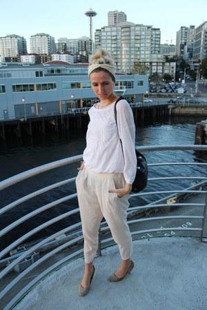 vince shirt - free people bag - oakfort pants - Urban Outfitters heels