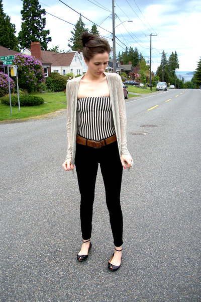 Anthropologie cardigan - All Saints belt - American Apparel bodysuit