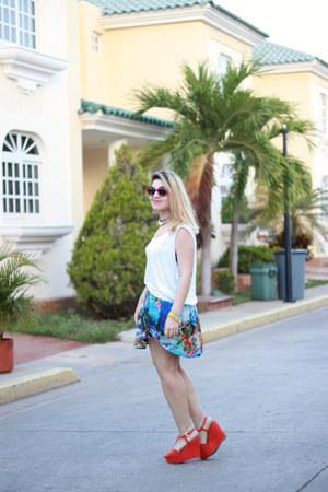 Zara skirt - Bershka wedges - Zara blouse
