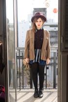 magenta Zara hat - camel vintage blazer - navy thrifted blouse
