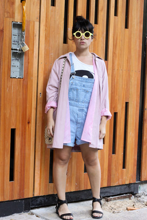 light pink vintage coat - light blue Gap romper
