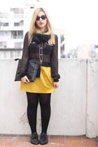 mustard Forever 21 skirt - black Zara blouse