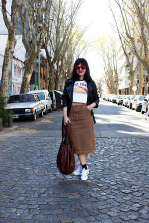 white Adidas sneakers - red Zara sunglasses - burnt orange calvin klein skirt