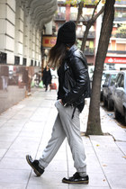 black Zara top - white Zara pants - black Opening Ceremony hair accessory