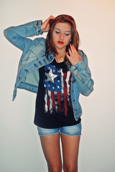 blue denim jacket - blue shorts - black USA flag top