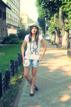tan hat - black shoes - white bag - sky blue shorts - white top