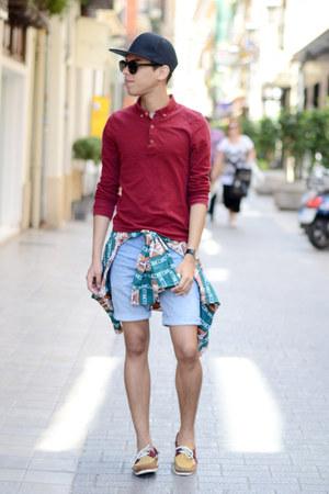 black Bershka hat - ruby red asos shirt - teal H&M shirt