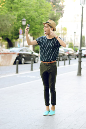 camel Zara hat - brown Hermes bracelet - navy H&M t-shirt - brown pull&bear belt