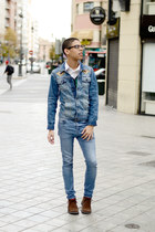 shirt - white H&M shirt - blue pull&bear jacket