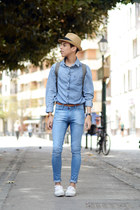 blue pull&bear jeans - beige Zara hat - blue pull&bear shirt