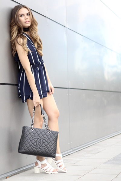 abe41e3afc7 Rose Gal romper - Chanel bag - Geox sandals - brandy melville necklace