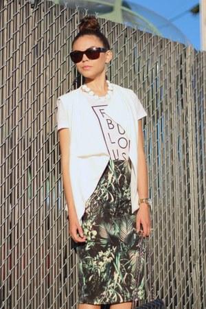 foreign exchange vest - shoemint boots - Chanel bag - Chanel sunglasses