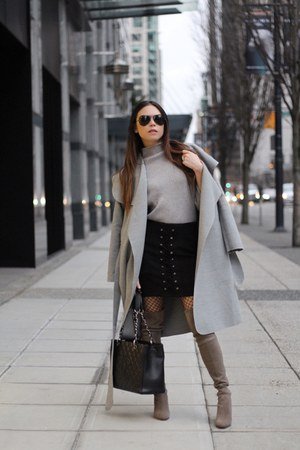 zaful sweater - stuart weitzman boots - Simple Apparel coat - Chanel bag