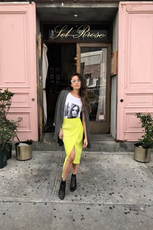 Dynamite blazer - Zara boots - Dynamite t-shirt - asos skirt