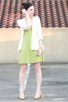 chartreuse jersey Nordstroms dress - off white lace banana republic sweater - nu