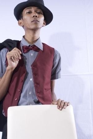 hat - next shirt - Guess tie - Guess vest - Zara blazer - Tanker jeans