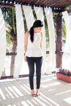 white Zara top - Zara wedges