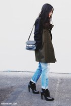 army green Mango jacket - sky blue Zara jeans - black PROENZA SCHOULER bag
