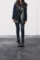 Topshop jacket - Alexander Wang boots - Topshop sweater