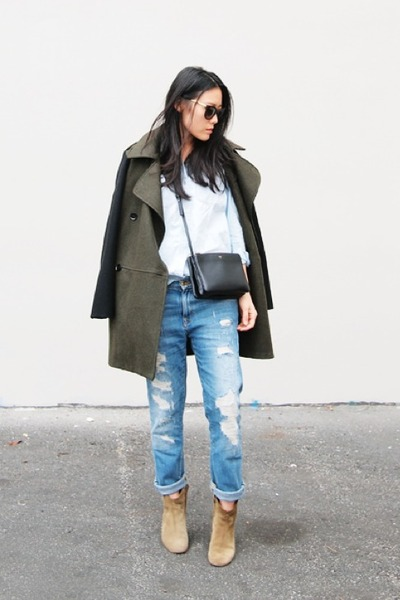 Mango coat - Isabel Marant boots - Zara jeans - madewell shirt - Celine bag