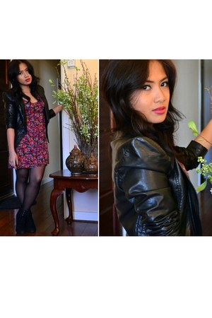 black leather jacket Temt jacket - black Shop Like Amanda boots
