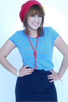 red beret vintage hat - blue hand me downs hand me down t-shirt