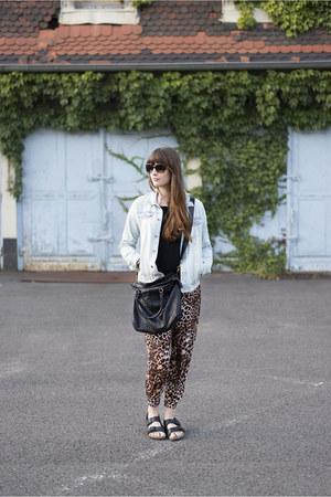 black Birkenstock sandals - light blue H&M jacket - black liebeskind bag