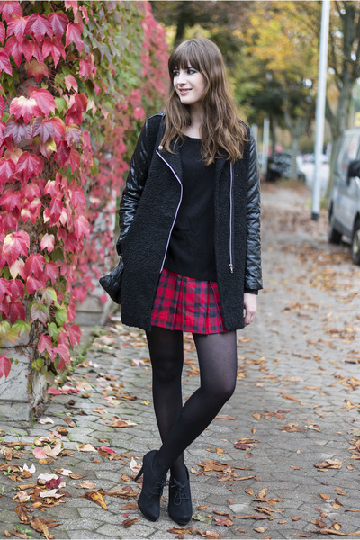 black lookbookstore coat - red H&M skirt