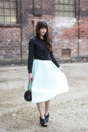 light blue H&M skirt - dark gray H&M blouse