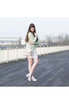 lime green ernstings family sweater - white new look sandals
