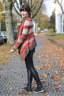 Black-asos-leggings-red-h-m-cardigan-black-tk-maxx-sneakers