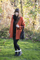 orange ernstings family coat - black Rieker boots