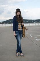 blue Mavi jeans - bronze Steve Madden bag