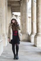 tan c&a jacket - red Bershka sweater - black H&M skirt