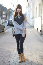 orange Square44 necklace - camel Timberland boots - heather gray chicnova shirt